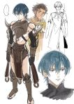... 2boys blue_eyes blue_hair braid brown_hair byleth_(fire_emblem) byleth_(fire_emblem)_(male) claude_von_riegan fire_emblem fire_emblem:_three_houses green_eyes highres looking_at_another male_focus multiple_boys oragamura999 pelvic_curtain sandals single_braid spoken_ellipsis