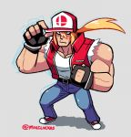 1boy baseball_cap blonde_hair blue_eyes denim fatal_fury fingerless_gloves gloves hat jacket jeans long_hair looking_at_viewer male_focus mike_luckas muscle pants ponytail snk solo super_smash_bros. terry_bogard the_king_of_fighters