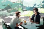 2boys alternate_costume black_eyes black_hair brown_hair chair collared_shirt contemporary cup day drink drinking_straw earrings glass hair_slicked_back hanafuda ice ice_cube jewelry kamado_tanjirou kimetsu_no_yaiba looking_at_another magazine medium_hair multiple_boys open_mouth outdoors plate ponytail red_eyes sakamoto_bin shirt short_hair short_sleeves sitting sweatdrop table talking teacup tomioka_giyuu tree unbuttoned unbuttoned_shirt white_shirt