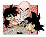 6+boys bald black_eyes black_hair blush_stickers bowl_cut chaozu clothes_writing commentary_request cup dougi dragon_ball dragon_ball_z facial_scar facing_away fenyon fingernails frown grin hands_together head_out_of_frame kuririn long_hair looking_down male_focus multiple_boys outside_border outstretched_hand pale_skin parted_lips ponytail profile saucer scar scar_on_cheek shirt simple_background sleeves_rolled_up smile son_gohan son_gokuu spiky_hair spoon table teacup tenshinhan third_eye twitter_username upper_body v-shaped_eyebrows white_background white_shirt wristband yamcha