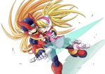 1boy 1girl android bangs blonde_hair blue_eyes ciel_(rockman) energy_sword gloves hair_between_eyes hand_on_another's_back headgear helmet high_ponytail holding holding_weapon long_hair open_mouth ponytail rockman rockman_zero simple_background smile sword user_dmeh8545 very_long_hair weapon white_background white_gloves zero_(rockman)