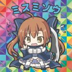 1girl afterimage ahoge bangs bikkuriman_(style) blue_bow blue_dress blue_footwear blush bow breasts brown_eyes character_name chibi dress eyebrows_visible_through_hair flower_knight_girl flying_sweatdrops full_body garter_straps hair_between_eyes hair_bow holding holding_weapon long_hair long_sleeves looking_at_viewer misumisou_(flower_knight_girl) open_mouth panties parody rinechun shoes sleeves_past_wrists small_breasts solo standing thigh-highs translated twintails underwear very_long_hair weapon white_legwear white_panties