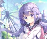 1girl :o ahoge anchor_symbol azur_lane backpack bag bag_charm bangs black_sailor_collar black_scrunchie blue_sky blush charm_(object) collarbone commentary_request day eyebrows_visible_through_hair ferris_wheel hair_between_eyes hair_ornament hair_scrunchie hairclip highres knee_up lamppost long_hair looking_at_viewer low_twintails outdoors parted_lips pink_neckwear purple_hair saeki_sora sailor_collar school_uniform scrunchie serafuku sitting sky solo sweater twintails unicorn_(amusement_park_date)_(azur_lane) unicorn_(azur_lane) very_long_hair violet_eyes white_sweater x_hair_ornament