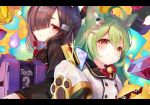 2girls :3 ahoge akashi_(azur_lane) animal_ear_fluff animal_ears azur_lane bangs black_hair blunt_bangs box cat_ears closed_mouth coin commentary_request credit_card cube deal_with_it double-breasted expressionless eyebrows_visible_through_hair gem green_hair hair_between_eyes hair_over_one_eye holding holding_box japanese_clothes jitome kimono letterboxed long_hair looking_at_viewer manjuu_(azur_lane) medium_hair mole mole_under_eye multiple_girls red_eyes shiranui_(azur_lane) sleeves_past_fingers sleeves_past_wrists smile tech_box_(azur_lane) tocope very_long_sleeves yellow_eyes