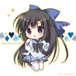 1girl :d bangs black_bow black_footwear black_hair blue_bow blue_sailor_collar blue_skirt blush bow brown_outline character_name chibi club_(shape) commentary_request diamond_(shape) eyebrows_visible_through_hair frilled_skirt frills full_body gaku_ou hair_bow hands_up happy_birthday heart long_hair long_sleeves looking_at_viewer open_mouth outline pleated_skirt ryuuka_sane sailor_collar school_uniform serafuku shirt shoes skirt smile solo sorano_(gaku_ou) spade_(shape) sparkle thigh-highs twitter_username very_long_hair violet_eyes white_background white_legwear white_shirt