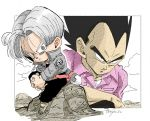 2boys black_eyes black_hair black_pants boots capsule_corp chibi clouds cloudy_sky commentary_request denim denim_jacket dragon_ball dragon_ball_z dress_shirt expressionless father_and_son fenyon fingernails frown full_body grey_eyes grey_hair hands_clasped interlocked_fingers jacket looking_at_another looking_away male_focus multiple_boys outdoors own_hands_together pants pink_shirt rock serious shirt sitting sitting_on_rock sky spiky_hair sword trunks_(future)_(dragon_ball) twitter_username undershirt upper_body vegeta weapon wide-eyed