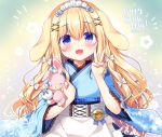 1girl :d animal_ears apron bangs blonde_hair blue_bow blue_kimono blush bow commentary_request dated eyebrows_visible_through_hair fingernails floral_print frilled_apron frills hair_between_eyes hair_bow hair_ornament happy_birthday holding holding_stuffed_animal japanese_clothes kimono lace-trimmed_sleeves long_hair long_sleeves maid_headdress open_mouth original print_kimono rabbit_ears sasai_saji smile solo stuffed_animal stuffed_bunny stuffed_toy upper_body v very_long_hair violet_eyes wa_maid waist_apron white_apron white_bow wide_sleeves x_hair_ornament