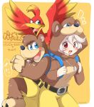 1boy 2girls animal animal_costume animal_hood backpack bag banjo banjo-kazooie banjo_(banjo-kazooie) banjo_(banjo-kazooie)_(cosplay) banjo_to_kazooie_no_daibouken bear bear_costume bear_hood bird blue_eyes brown_hair corrin_(fire_emblem) corrin_(fire_emblem)_(female) cosplay crossover cute dragon_girl elf eromame feathers female_my_unit_(fire_emblem_if) fire_emblem fire_emblem_fates fire_emblem_if gloves green_eyes hair_between_eyes hair_ornament hairband hat instrument intelligent_systems kamui_(fire_emblem) kazooie_(banjo-kazooie) long_hair looking_at_viewer manakete microsoft multiple_girls my_unit_(fire_emblem_if) nintendo open_mouth pointy_ears rareware red_eyes silver_hair simple_background smile sora_(company) super_smash_bros. super_smash_bros._ultimate super_smash_bros_brawl wings
