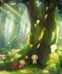 4others blush_stickers closed_mouth commentary_request dappled_sunlight day forest grass highres light_rays manino_(mofuritaionaka) moss multiple_others mushroom nature no_humans original outdoors scenery signature smile sunbeam sunlight tree u_u