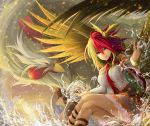 1girl animal animal_on_head arms_up bare_shoulders bird bird_on_head bird_wings blonde_hair bracelet chicken commentary_request crossed_legs detached_sleeves dress feet_out_of_frame frown hair_between_eyes highres ishida_kazuma jewelry layered_dress looking_at_viewer multicolored_hair niwatari_kutaka on_head oversized_animal red_eyes red_neckwear redhead scarf sitting solo splashing strapless strapless_dress touhou two-tone_hair water water_drop wings