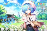 1girl apple_caramel artist_name bird blue_hair blue_sky building clouds cup day disposable_cup drinking_straw ferris_wheel flower grass hair_flower hair_ornament hair_over_one_eye hat outdoors re:zero_kara_hajimeru_isekai_seikatsu rem_(re:zero) short_hair short_sleeves sky smile solo standing string_of_flags tree whipped_cream white_flower white_headwear x_hair_ornament