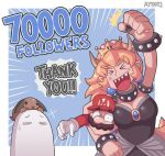 1girl 2boys ayyk92 black_collar black_leotard black_nails blonde_hair blue_earrings blue_overalls bowser bowsette bracelet collar crown dress earrings english_text facial_hair fingernails genderswap gloves hat horns jewelry leotard mario mario_(series) multiple_boys mustache new_super_mario_bros._u_deluxe nintendo overalls plumber pointy_ears rabbit sharp_fingernails sharp_teeth spiked_armlet spiked_bracelet spiked_collar spiked_tail spikes strapless strapless_dress strapless_leotard super_crown super_mario_bros. tail teeth thank_you transformation white_gloves