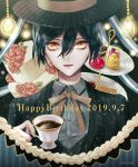 1boy alternate_costume artist_name black_hair black_headwear coffee coffee_cup commentary_request cup danganronpa dated disposable_cup flower food formal hair_between_eyes happy_birthday hat holding jacket looking_at_viewer new_danganronpa_v3 open_mouth red_flower red_rose ribbon rose saihara_shuuichi sakuyu shirt short_hair solo striped_hat striped_jacket white_shirt yellow_eyes yellow_ribbon