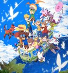 3girls 5boys agumon blonde_hair blue_eyes blue_hair brown_eyes brown_hair bus closed_mouth clouds commentary_request digimon digimon_adventure gabumon glasses gloves goggles goggles_on_head gomamon ground_vehicle hat huan_li ishida_yamato izumi_koushirou kido_jou long_hair medium_hair motor_vehicle multiple_boys multiple_girls open_mouth palmon patamon piyomon shirt short_hair smile tachikawa_mimi tailmon takaishi_takeru takenouchi_sora tentomon water yagami_hikari yagami_taichi