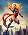 blonde_hair boots breasts carol_danvers domino_mask highres krystopher_decker large_breasts leotard marvel mask ms._marvel sash thigh-highs thigh_boots
