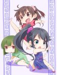 3girls ahoge armpits asakura_mihono ban_tsugumi black_hair blue_eyes blush_stickers bracelet brown_eyes chibi china_dress chinese_clothes clenched_hand convenient_censoring dress eyebrows_visible_through_hair fallen_down fighting_stance flower flying_kick gradient_hair green_hair hair_flower hair_ornament jewelry kicking kung_fu long_hair martial_arts multicolored_hair multiple_girls open_eyes open_mouth palm_strike ponytail shaded_face shadow short_hair side_slit simple_background takano_natsuki toji_no_miko twintails yamashiro_yui