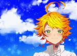 1girl ahoge bangs blonde_hair blue_sky closed_mouth clouds collared_shirt emma_(yakusoku_no_neverland) green_eyes highres kitimoop looking_at_viewer neck_ribbon portrait ribbon shirt short_hair sky smile solo star swept_bangs white_ribbon white_shirt wing_collar yakusoku_no_neverland