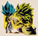 2boys beige_background black_footwear blue_eyes blue_hair broly_(dragon_ball_super) card chibi clothes_around_waist commentary_request crossed_arms crossed_legs dragon_ball dragon_ball_super_broly expressionless facial_scar fenyon fingernails food food_in_mouth food_on_face full_body gogeta green_hair holding holding_card legs_apart male_focus multiple_boys muscle no_pupils pants playing_card profile purple_legwear rock scar scar_on_cheek shirtless simple_background sitting spiky_hair square standing super_saiyan_blue super_saiyan_full_power twitter_username waist_cape waistcoat white_pants wristband yellow_background