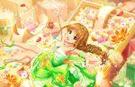 blonde_hair blue_eyes blush braid dress hino_akane_(idolmaster) idolmaster_cinderella_girls_starlight_stage long_hair smile