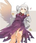 1girl ahoge arm_up bangs bow bowtie breasts clenched_hand commentary_request dress eyebrows_visible_through_hair feet_out_of_frame grey_background grey_jacket hair_between_eyes hand_up highres jacket kishin_sagume long_sleeves looking_at_viewer medium_breasts off_shoulder open_clothes open_jacket parted_lips purple_dress red_bow red_eyes red_neckwear rin_falcon short_hair sidelocks silver_hair single_wing solo thighs touhou two-tone_background white_background white_wings wings