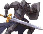 1boy armor fighting_stance fuji_(d38635s10) gauntlets helmet horn male_focus shield solo spikes sword tactics_ogre terror_knight_(tactics_ogre) weapon white_background