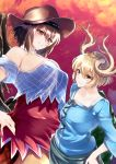 2girls absurdres bangs bare_shoulders black_hair black_wings blonde_hair blue_shirt brown_headwear collarbone commentary_request cowboy_hat cowboy_shot dragon_horns eyebrows_visible_through_hair feathered_wings grey_skirt grin hair_between_eyes hand_on_hip hands_on_hips hat highres horns kicchou_yachie kurokan_(kokkyou_oudan) kurokoma_saki long_sleeves looking_at_another multiple_girls off-shoulder_shirt off_shoulder puffy_short_sleeves puffy_sleeves red_eyes shirt short_hair short_sleeves skirt smile touhou v-shaped_eyebrows wings yellow_eyes