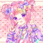 1girl bandaid bandaid_on_nose blonde_hair blue_bow bow commission double_bun food gradient_hair green_hair hair_bow hair_ornament hairclip hands_up heart holding holding_food index_finger_raised jacket jewelry long_sleeves multicolored_hair natsumii_chan open_clothes open_jacket original pink_background pink_hair pink_sweater pocky polka_dot polka_dot_background polka_dot_bow purple_bow purple_hair purple_jacket ring shirt sleeves_past_wrists solo sweater violet_eyes w white_bow x_hair_ornament yellow_bow