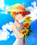 1girl :d ahoge blonde_hair blue_sky blurry blurry_background bouquet clouds collarbone dress emma_(yakusoku_no_neverland) flower green_eyes hat hat_ribbon holding holding_bouquet kitimoop looking_at_viewer open_mouth ribbon short_hair sky sleeveless sleeveless_dress smile solo sparkle standing straw_hat sun_hat sundress sunflower tattoo white_dress yakusoku_no_neverland yellow_flower yellow_headwear yellow_ribbon
