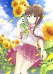 1girl 7_calpis_7 bangs blue_sky blush bow brown_eyes brown_hair closed_mouth clouds cloudy_sky commentary_request day eyebrows_visible_through_hair fingernails flower hair_between_eyes hair_bow hand_up high_ponytail highres holding holding_flower long_hair looking_at_viewer neckerchief original outdoors petals pink_bow pink_sailor_collar pink_skirt pleated_skirt ponytail red_neckwear sailor_collar school_uniform serafuku shirt short_sleeves sidelocks skirt sky smile solo sunflower very_long_hair white_shirt yellow_flower