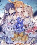 3girls asuka_(louyun) bangs blue_dress blue_eyes blue_hair blush bouquet choker commentary_request cowboy_shot dress earrings eyebrows_visible_through_hair flower grey_dress grey_hair hair_between_eyes hair_flower hair_ornament holding holding_bouquet jewelry kousaka_honoka long_hair love_live! love_live!_school_idol_festival love_live!_school_idol_project minami_kotori multiple_girls one_side_up orange_dress orange_hair sandwiched smile sonoda_umi yellow_eyes