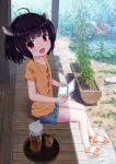 1girl ahoge alternate_costume bangs black_hair blunt_bangs blush bob_cut casual collarbone denim denim_shorts flat_chest flower garden glass handheld_game_console happy headgear highres iced_tea isou_nagi looking_at_viewer looking_to_the_side nintendo_3ds open_mouth outdoors pitcher plant pond porch potted_plant sandals shade shirt short_hair shorts sitting smile solo t-shirt tea touhoku_kiritan violet_eyes voiceroid water