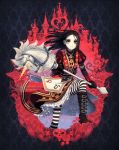 1girl alice:_madness_returns alice_(wonderland) artist_name bangs belt belt_boots black_footwear black_gloves black_hair boots bow brown_belt bug butterfly checkered closed_mouth commentary dav-19 dress elbow_gloves english_commentary flower forehead gloves green_eyes heart highres holding holding_weapon horn horseshoe insect knee_boots light_smile long_hair looking_at_viewer mushroom omega_symbol pantyhose parted_bangs petals puff_and_slash_sleeves puffy_short_sleeves puffy_sleeves queen_of_hearts red_bow red_dress red_flower red_rose rose rose_petals short_sleeves signature skull solo spade_(shape) striped striped_legwear tower venus_symbol watermark weapon web_address white_rabbit