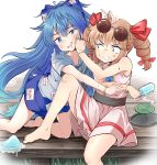 2girls absurdres ahoge anger_vein bangle bangs bare_arms bare_shoulders barefoot belt blue_eyes blue_hair blue_hoodie blue_skirt bow bracelet clenched_teeth collarbone commentary_request constricted_pupils debt dress drill_hair drooling eyebrows_visible_through_hair eyewear_on_head food furrowed_eyebrows grimace hair_bow hair_ribbon hand_on_another's_face hand_on_another's_head highres holding holding_food hood hood_down jewelry knee_up kneeling leaning_on_person light_brown_hair long_hair looking_at_another looking_at_viewer mosquito_coil multiple_girls necklace open_mouth pendant pink_dress popsicle popsicle_stick pushing_away reaching red_eyes ribbon ring siblings sideways_glance sisters sitting skirt sleeveless sleeveless_dress sunglasses sweat teeth touhou twin_drills veranda very_long_hair white_background yorigami_jo'on yorigami_shion yossy_(yossy1130)