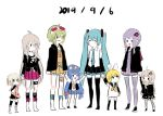 6+girls absurdres aqua_hair blonde_hair blue_eyes blue_hair blush_stickers boots braid bread cevio closed_eyes dated dress eating eel_hat food goggles gomiyama green_eyes green_hair gumi hair_ribbon hatsune_miku highres ia_(vocaloid) imouto_no_hi kagamine_rin kizuna_akari long_hair looking_at_another melon_bread multiple_girls necktie one_(cevio) otomachi_una purple_hair ribbon sailor_collar sailor_dress siblings simple_background sisters skirt twin_braids twintails vocaloid voiceroid white_background white_footwear younger yuzuki_yukari