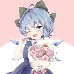 1girl arms_up baby's-breath blue_dress blue_eyes blue_hair blush bouquet bow cirno commentary_request cowboy_shot daisy dress eyebrows_visible_through_hair finger_to_eye flower hair_bow happy_tears head_tilt holding holding_bouquet kuromame_(8gou) lily_(flower) one_eye_closed open_mouth outline pinafore_dress pink_background pink_flower pink_rose puffy_short_sleeves puffy_sleeves red_neckwear red_ribbon ribbon rose shirt short_hair short_sleeves simple_background solo tears touhou two-tone_background white_background white_shirt wings wiping_tears