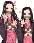 1girl absurdres bad_hands bamboo bangs bit_gag black_hair blush brown_hair checkered claw_pose eyebrows_visible_through_hair fingernails forehead gag gradient_hair hair_ribbon highres japanese_clothes kamado_nezuko kimetsu_no_yaiba kimono long_sleeves mouth_hold multicolored_hair multiple_views nail_polish norazura obi open_clothes parted_bangs pink_kimono pink_ribbon red_nails ribbon sash simple_background violet_eyes white_background wide_sleeves window