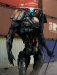 android commentary cyborg energy_gun esuthio exoskeleton mecha mechanical mechanical_arms no_humans original power_armor power_suit robot science_fiction super_robot weapon