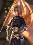 1girl absurdres armor armored_dress ashiro_(pixiv_23777766) banner black_dress blonde_hair blue_eyes blurry blurry_background braided_ponytail chain closed_mouth cowboy_shot dress fate/apocrypha fate_(series) gauntlets hair_between_eyes headpiece highres holding holding_sword holding_weapon jeanne_d'arc_(fate) jeanne_d'arc_(fate)_(all) long_hair looking_down ponytail solo standing sword weapon