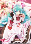 1girl absurdres apron aqua_hair bangs black_bow black_dress blown_kiss blue_eyes blush bow commentary_request dress eyebrows_visible_through_hair fingernails frilled_apron frills gari_(apollonica) gift hair_bow hair_ornament hairclip hatsune_miku hatsune_miku_graphy_collection heart heart-shaped_pupils highres holding holding_gift juliet_sleeves leaning_forward long_hair long_sleeves looking_at_viewer maid maid_apron maid_headdress neck_ribbon official_art one_eye_closed pennant pink_bow puckered_lips puffy_sleeves red_bow red_ribbon ribbon solo string_of_flags symbol-shaped_pupils twintails very_long_hair vocaloid watermark web_address white_apron wing_collar x_hair_ornament