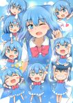 +_+ 6+girls ;d arm_behind_back arm_up bangs blue_dress blue_eyes blue_hair blush_stickers bow bowtie bright_pupils chibi cirno clenched_hand clenched_hands clone closed_eyes commentary_request cowboy_shot dress eyebrows_visible_through_hair fang grin hair_ribbon head_tilt heart highres index_finger_raised lifting_person looking_at_another looking_at_viewer lying_on_another minigirl mizune_(winter) multiple_girls one_eye_closed open_mouth outstretched_arms pinafore_dress puffy_short_sleeves puffy_sleeves red_neckwear ribbon shirt short_hair short_sleeves sitting sitting_on_person skin_fang smile spread_arms standing teeth touhou white_pupils white_shirt wings