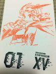 1girl carving highres photo senki_zesshou_symphogear senki_zesshou_symphogear_xv short_hair solo stamp tachibana_hibiki_(symphogear) upper_body