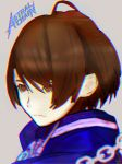 1girl akira_howard artist_request astral_chain brown_eyes brown_hair gloves jacket police police_uniform short_hair simple_background solo uniform white_background