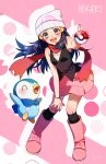 1girl :d black_legwear black_shirt blue_eyes blue_hair blush boots bracelet breasts floating_hair full_body gen_4_pokemon hand_on_own_knee hat highres hikari_(pokemon) holding holding_poke_ball jewelry kneehighs leaning_forward long_hair looking_at_viewer miniskirt open_mouth pink_footwear pink_skirt piplup poke_ball poke_ball_print pokemon pokemon_(game) pokemon_dppt print_hat red_scarf scarf shiny shiny_hair shirt signature skirt sleeveless sleeveless_shirt small_breasts smile solo white_headwear yuuki_(yuuk_yume)