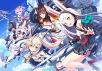5girls absurdres animal_ears artist_request ayanami_(azur_lane) azur_lane bare_shoulders crown eyebrows_visible_through_hair fake_animal_ears gloves green_eyes hair_between_eyes high_ponytail highres holding holding_sword holding_weapon horns javelin_(azur_lane) katana laffey_(azur_lane) long_hair looking_at_viewer multiple_girls official_art open_mouth orange_eyes ponytail purple_hair retrofit_(azur_lane) shimakaze_(azur_lane) shirt silver_hair sleeveless sleeveless_shirt suruga_(azur_lane) sword twintails violet_eyes weapon white_camisole white_legwear