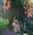 1girl bag bangs bare_arms bare_legs bare_shoulders bicycle braid brown_hair commentary_request flower ground_vehicle hair_ornament hairclip highres hina_(xoxo) original outdoors plant red_flower shirt shoes short_hair sitting solo tearing_up white_shirt