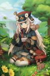 1girl animal animal_on_shoulder artist_name bag bangs black_footwear blue_eyes blue_headwear blue_jacket blue_skirt blue_sky brown_gloves character_request clouds cloudy_sky commentary day dragalia_lost english_commentary envelope fountain_pen gloves hair_between_eyes hat hentaki highres holding holding_envelope holding_pen jacket long_hair long_sleeves messenger_bag o-ring on_grass outdoors parted_lips pen pleated_skirt shoulder_bag silver_hair skirt sky solo squirrel thigh-highs thighhighs_under_boots tree very_long_hair watermark web_address white_legwear wide_sleeves