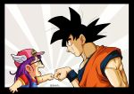 1boy 1girl :d baseball_cap bird_studio black_border black_eyes black_hair blue_eyes border character_name clothes_writing commentary_request creator_connection crossover dougi dr._slump dragon_ball dragon_ball_z eye_contact fenyon fist_bump glasses grin hat highres long_hair looking_at_another muscle norimaki_arale open_mouth outside_border overalls profile purple_hair red_shirt shaded_face shirt short_sleeves shueisha smile son_gokuu spiky_hair teeth toei_animation tongue toriyama_akira twitter_username upper_body winged_hat wristband