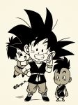 1girl 2boys :d :o arms_at_sides barefoot black_eyes black_hair chibi clenched_hand clenched_teeth commentary_request dark_skin dark_skinned_male dougi dragon_ball dragon_ball_z fenyon flying full_body grandfather_and_granddaughter greyscale grin hand_on_hip hands_on_another's_shoulders looking_up mohawk monochrome multiple_boys open_mouth pan_(dragon_ball) salute shadow short_hair simple_background smile son_gokuu spiky_hair standing teeth twitter_username uub white_background wristband