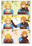 1boy 1girl adjusting_another's_hair adjusting_hair blonde_hair blue_tunic blush bob_cut book brown_hair embarrassed eorinamo highres link master_sword pointy_ears princess_zelda reading scabbard sheath sheathed sweatdrop the_legend_of_zelda the_legend_of_zelda:_breath_of_the_wild the_legend_of_zelda:_breath_of_the_wild_2