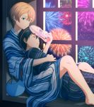 2boys barefoot black_hair black_kimono blonde_hair blue_eyes blue_kimono closed_eyes eugeo fcc fireworks highres japanese_clothes kimono kirito lying male_focus multiple_boys night on_side sitting_in_window sleeping striped striped_kimono sword_art_online yaoi